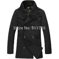 2014 New winter Epaulette design large lapel Wool coat jackets for men,double-breasted woolen overcoat outwear men,M-XXL,838