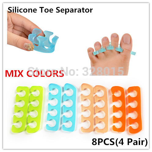 2014 Newest Silicone Soft Foam Toe Separator Nail Art Finger Manicure Salon Tools ,Mix Color 8pcs/lot Can Be Washed Nail Tools(China (Mainland))