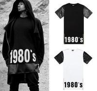 Faux Leather Sleeve T Shirts Men/ Side Zipper 1980 White Black T Shirt/  Tee Tops Patchwork Shirt Men Women