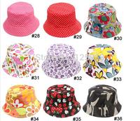 Free shipping!2014 New 10pcs/lot new Baby Girl's Beach caps kid's Flower sun cap children's hat 36 Styles