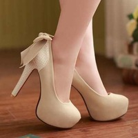 Fashion Women Pumps Red Bottom High Heels Sweet Princess Bow Shoes Round Toe Party Wedding Platform Pumps EUR Size 34-42
