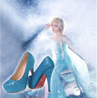 Free shipping!! Frozen Great Adventure Snow Queen aisha Cosplay women girl High heels Artificial diamonds crystal shoes