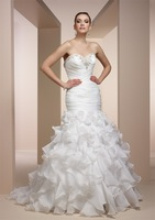 New Style Sheath/Column  Wedding Dresses women Mermaid/Trumpet  Sweep/Brush Organza beaded flower Sweetheart dress BOS.19