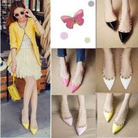 Summer Fashion Women Sandals Shoes New High Quatity PU Women Shoes Casual Sexy Pointed Toe Rivets Women Flats,L0762
