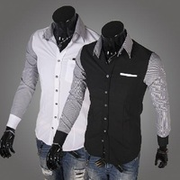 The autumn of 2014 new fashion stripe color men's long sleeve shirt