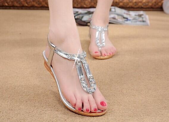 Novo 2014 Mulheres de Verão Gladiador cristal Rhinestone Wedges Flip Flops Sandálias boho calçados casuais(China (Mainland))