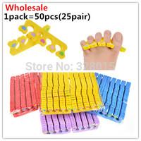 Wholesale 50pcs (25 pairs) Soft Sponge Toe Separator Soft Foam Nail Tools,Nail Art Manicure Salon Finger Separator Free Shipping