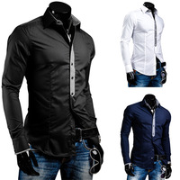 Free shipping wholesale 2014 new style men casual long-sleeve shirt men fashion solid slim shirt 3 color,size M~XXL