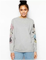 new arrival fashion 2014 autumn winter women cotton pullover long sleeve cartoon Mickey mouse print cute grey  hoodie sweater