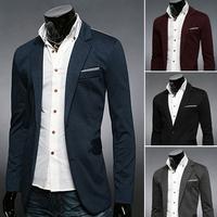 Hot Sale 2014 New Design Mens Blazer Jacket Coats,Casual Slim Fit Stylish Blazers For Men,Plus Size M~XXL,4 Colors
