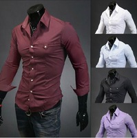 In the fall of 2014 new Korean unique pocket design Mens Long Sleeve slim shirt