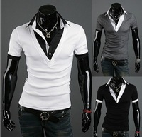 free shippin/men's tshirt/fashion best quality collar 5957