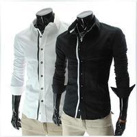 The autumn of 2014 new Hitz Lapel ribbon color men's long sleeve shirt