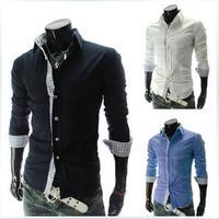 The autumn of 2014 new Hitz lattice color long slim shirt