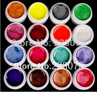 Free Shipping DIY New 16 PCS Mix Colors Pearls UV Builder Gel Acrylic Set for Nail Tips  Nail Art
