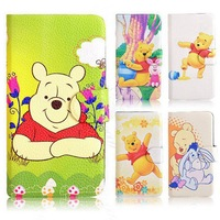 2014 Winnie the Pooh Bear Tigger Pig Card Slot Leather PU Flip Case Cover For Sony Xperia M2 S50h