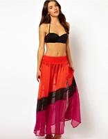 Plus Size New Sheer Skirts 2014 Women Clothing Rainbow Skirt Elastic Waist Three-Color Patchwork Beach Skirts Chiffon Long Skirt