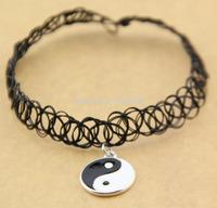 Yin and Yang Tattoo Choker Elastic Necklace Pendant Grunge 90s Ying Festival