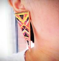 Free Shipping Vintage Exaggerate Enamel Color Tone Glaze Geometric Triangle Stud Earrings