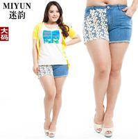 Half Crochet Lace Decoration Blue Denim Shorts Hot Pants For Plump Women Ladies Elastic Short Jeans Summer 2014 Latest