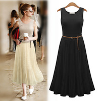 Free shipping summer 2014 new Retro bohemian brief style  elastic waist  soft fabric pleated long  dress for women  with belt