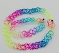 80s Vintage Stretch Rainbow Tattoo Choker Necklace&bracelet Gothic Punk Elastic 90s hot
