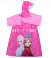 4pcs Girl rainware kids FROZEN ELSA ANNA raincoat S-M-L-XL, 4 Buttons PVC raincoat, children cartoon raincoat umbrella