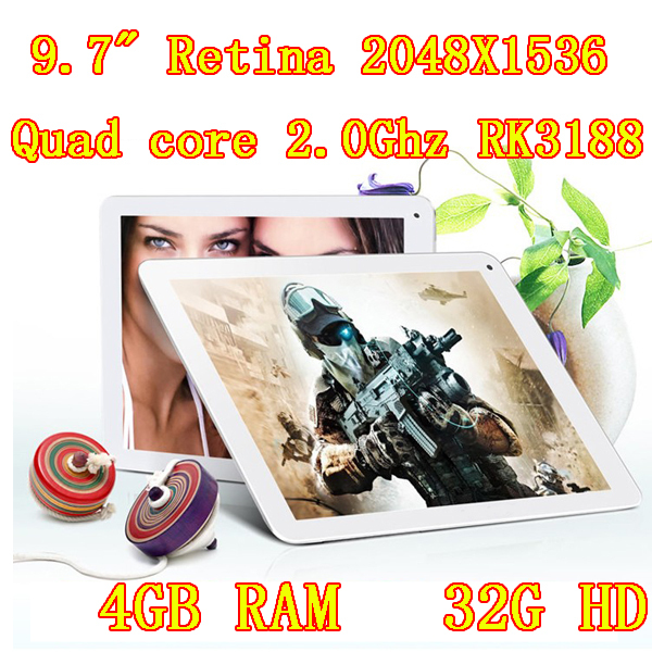 Samsung Quad-Core 2,0 GHz 9,7 Zoll IPS Netzhaut 2048x1536 android ddr4gb hd32gb bluetooth kamera 8.0mp mini-tablet-pc PCS 7 8 9 10