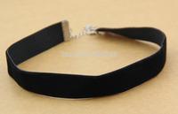 90's Black Velvet Choker Necklace Goth Gothic Handmade Handmade Retro Burlesque