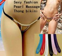 New 2014 Hot Sale Global VS Sexy Fashion Mini Micro Pearl Massage Bikinis G-string Thong Swimwear Underpants Boxers Underwear