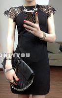 Fashion spring summer 2014 export to Europe America perspectivity patchwork lace women's dress sleeveless one-piece dress black