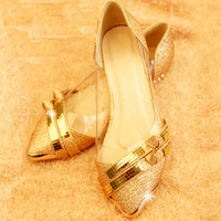 Women's Flats 2014 Women Shoes Solid Gold Silver Color Women Pointed Toe Wedding Shoes 2014 Fashion Flats Free Shipping