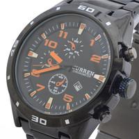 CURREN Jewelry Brand New Hot Promotional Elegant Black Business Men Luxury Fashion Sport Waterproof Steel Quartz Watch