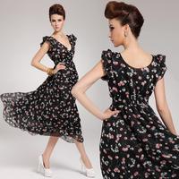 2014 new sleeveless v-neck chiffon one-piece long dress + free shipping