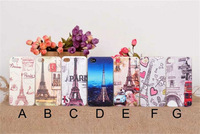 Free Shipping Case for iPhone 4 4G 4S New Arrival Cute Fashion Painted Eiffel Tower Design Protective Back Cover Case