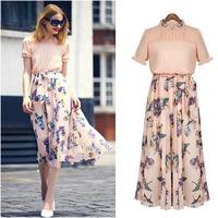 Free shipping summer 2014 new  Temperament Slim thin short-sleeved big swing printing chiffon long dress  for women