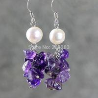 Natural amethyst earrings tassel design long bohemia earring vintage jewelry