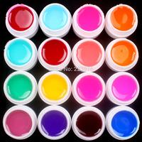 Free Shipping DIY 16 PCS Mix Colors Glass UV Builder Gel Acrylic Nail Art Set for Nail Art Tip New