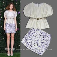 Fashion high quality luxury diamond 14 three-dimensional flowers half-skirt female set
