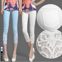 Hot Sale New 2014 Women Lace Crochet Leggings Casual Ladies Cotton Embroidered Slim Pencil Pants Plus Size Long Trousers S-XXXXL