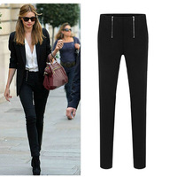 2014 New Fashion Slim Pencil Pants Women/Brand Spring Full Length Women Trousers/Casual Plus Size Women Clothing Black/ White