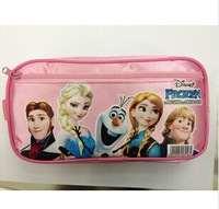 Free shipping new 2014 School Supplies Stationery Holder pen bag pencil-box children students girls pink zipper frozen Y241