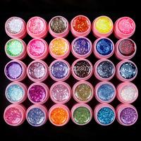 Free Shipping DIY Professional 30 Pcs Mix Color Glitter Hexagon Sheet Nail Art UV Builder Gel for Tips white pot Set