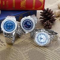 Men's Luxury Style Steel Digital-Analog Multi-movement LED-Quartz Wrist Watch (2 Time Zone, Assorted Colors)