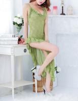 Women's Green Transparent Lace Sexy Lingerie Sleepwear Fine Looming Hip Split Ends Backless Adult Sex Love Porn Long Dresses