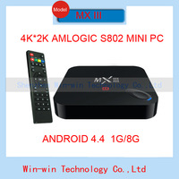 NEW MX III Amlogic S802 Quad Core TV Box XBMC Gotham 13  Android 4.4 Kitkat Wifi 1G Ram 8G Rom 4K M8 IN HOT SALE