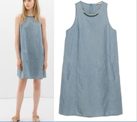 2014 new arrival fashion casual women sleeveless linen  dresses