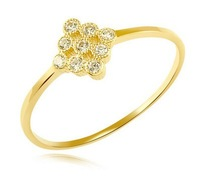 DIY pure 14k yellow gold ring can lettering crystal romantic engagement gift free shipping