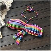 2014 cool summer foreign trade original sample no rims sexy swimsuit bra bikini sale wholesale swimsuits rainbow color bra A43