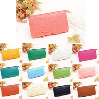 HOT 13 Colors Women Small Clutch Bags PU Leather Handbag Candy Color Wave Purse Wallet Shoulder Messenger Wallet
